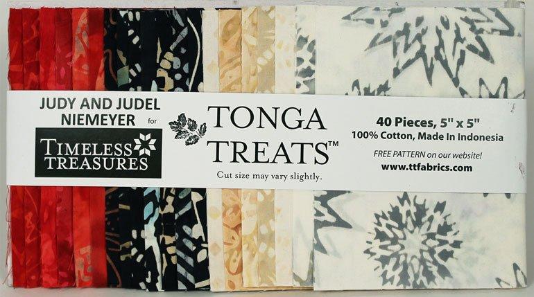 5in Squares Tonga Batik Rose Fabric