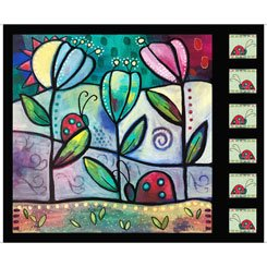 Painterly Garden Picture Patches Panel Black