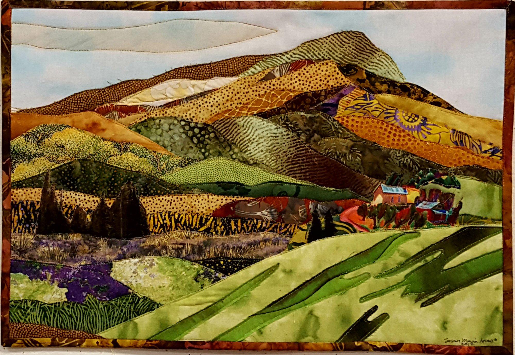 Raw edge applique california landscape