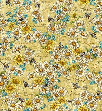 Bee Kind-Flowers and Words Gold