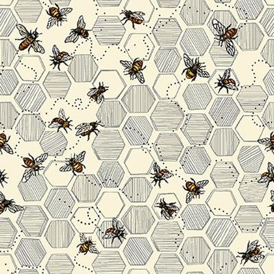 Bee Kind-Honeycomb Bees Ecru