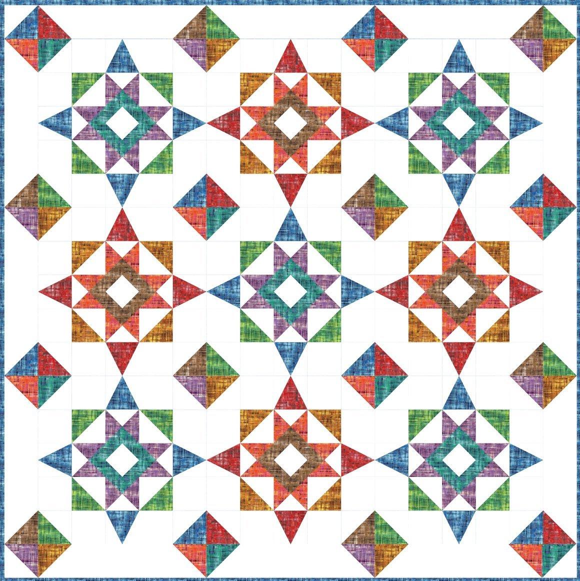 Brushstrokes Prism Stars Quilt Kit
