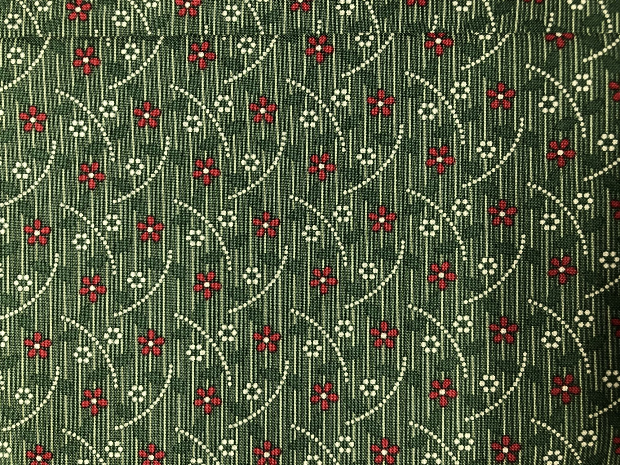 Heritage Red and Green-green floral