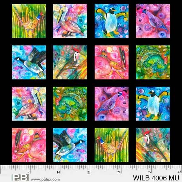 Multi Wild Birds 8in Squares-Panel