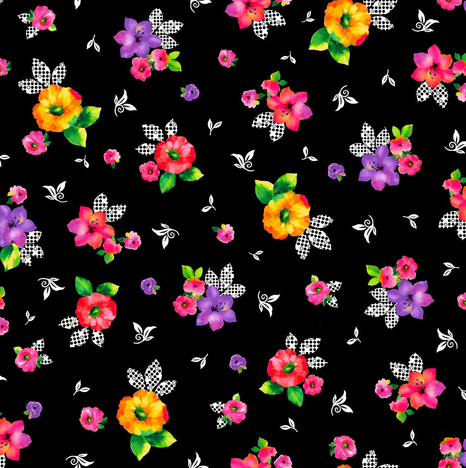 Brooke Black Floral Multi Quilting Treasures