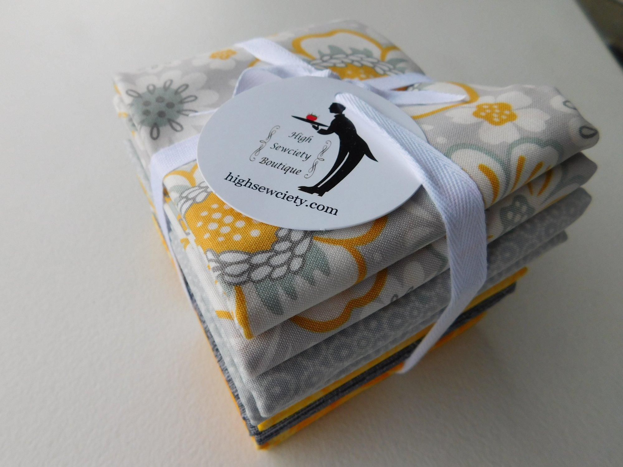 Yellow Gray 1 yard Fabric Bundle