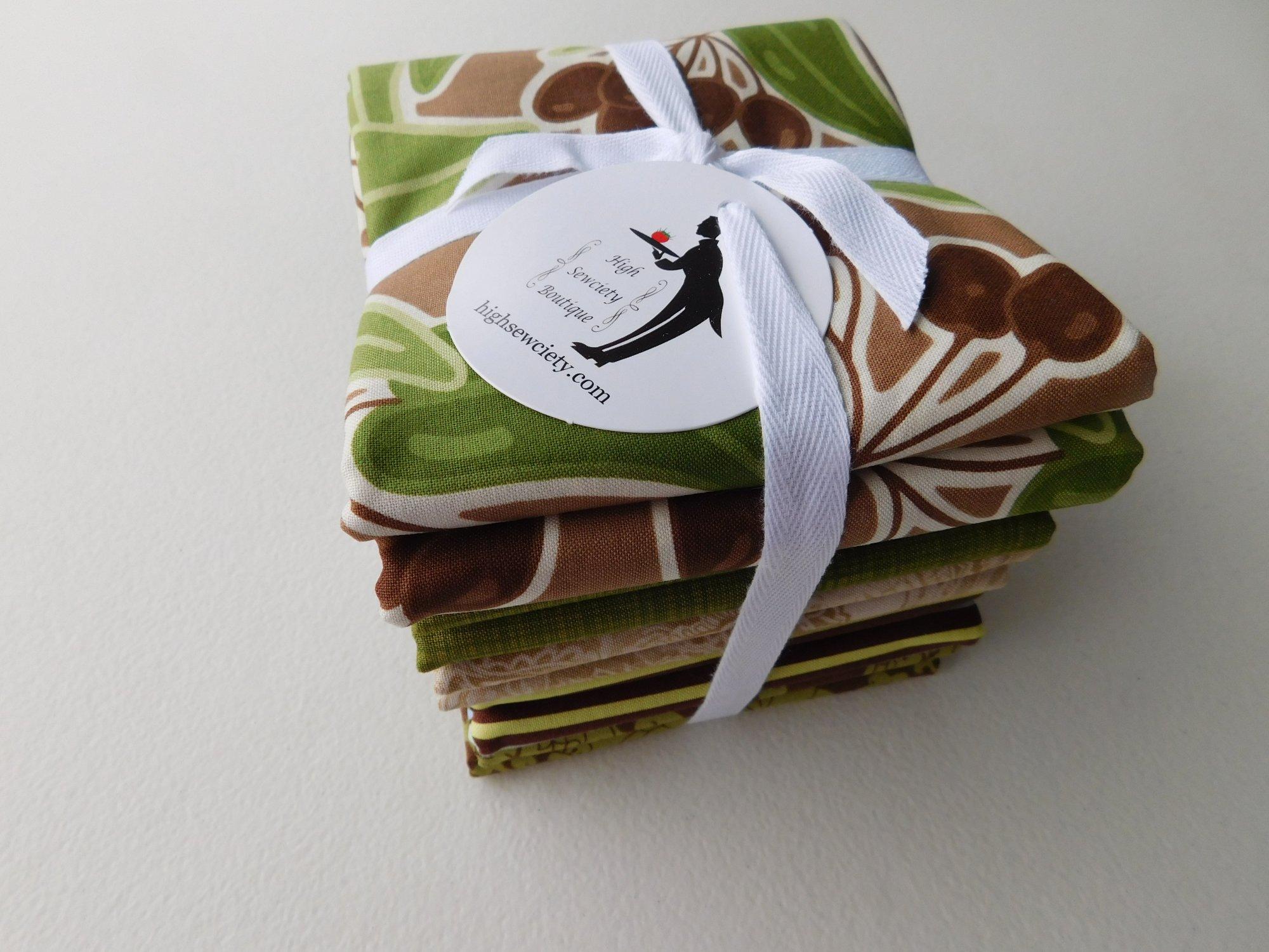 Modern Avocado Green and Brown 1/2 Yard Fabric Bundle