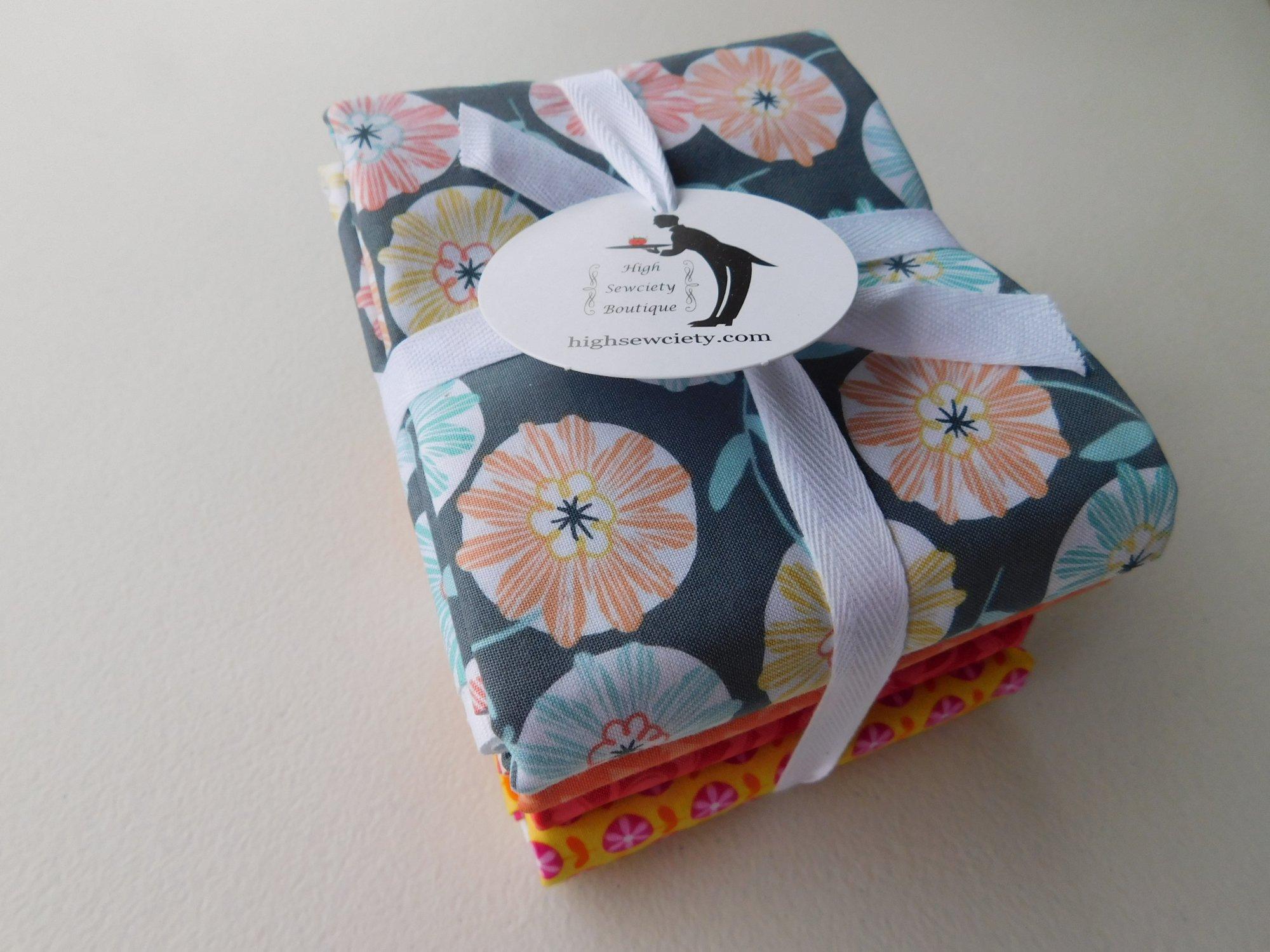 1/2 yd Fabric Bundle Modern Gray Orange Black Aqua
