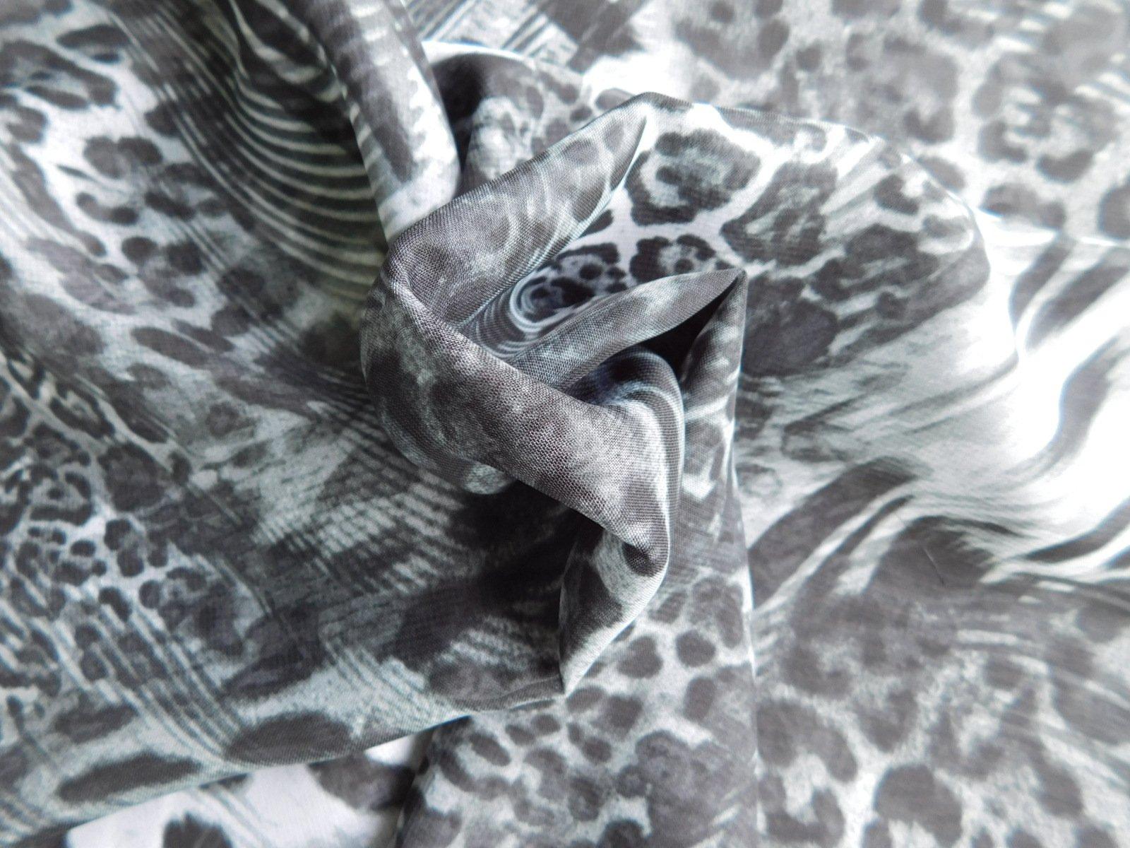 Black and gray poly leopard skin print chiffon