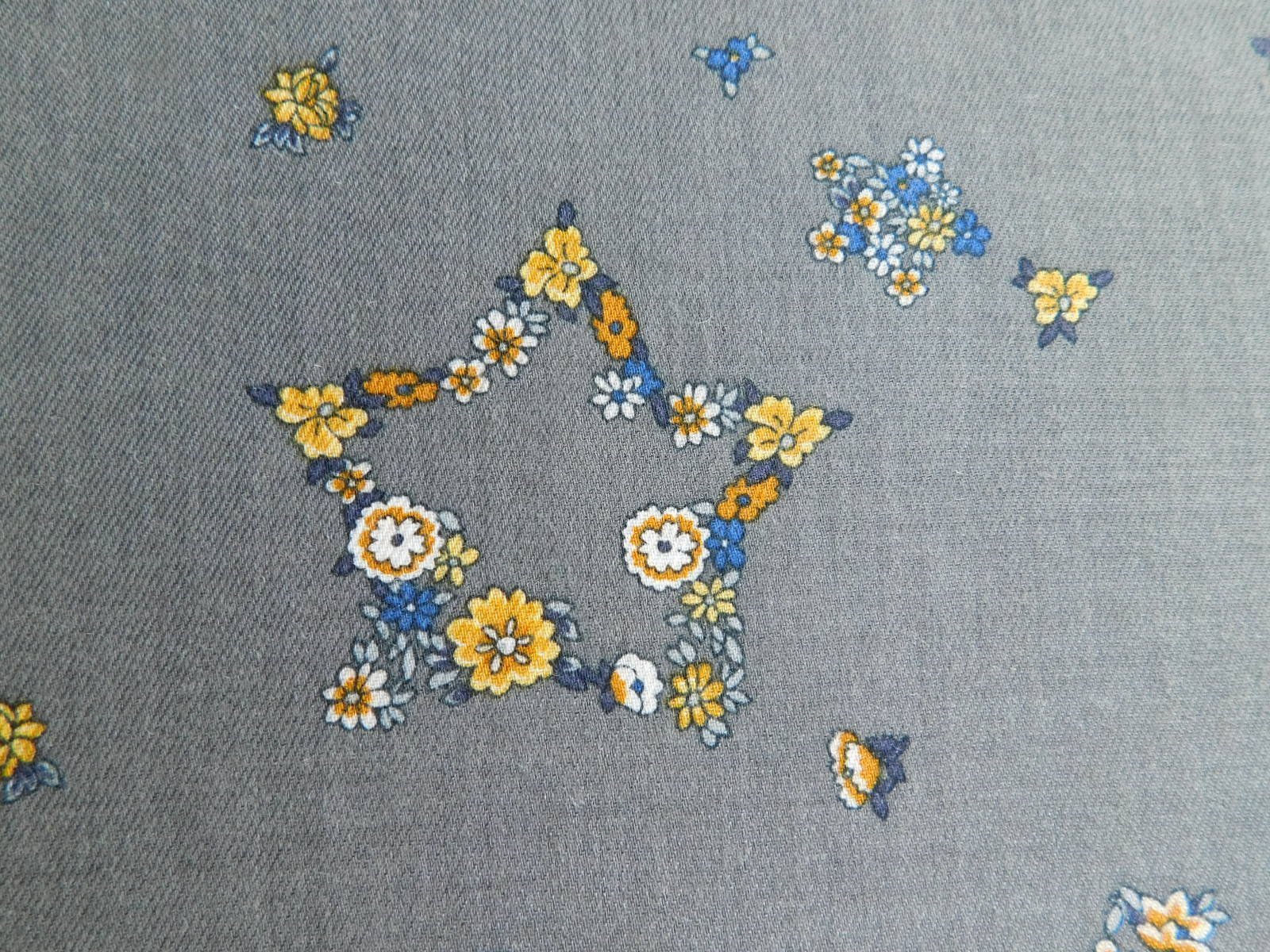 Blue Floral Star Print Wool Challis