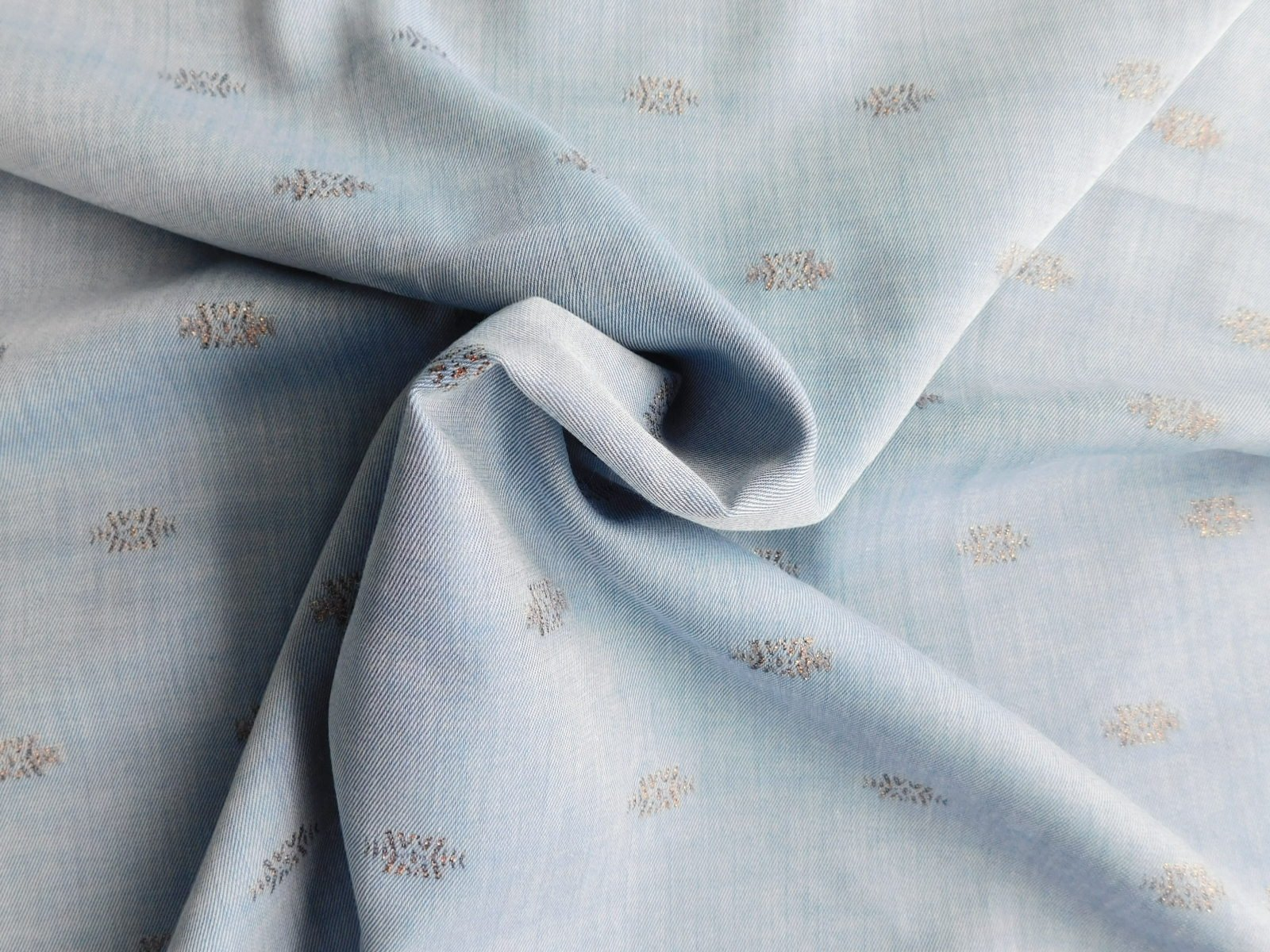 Blue Silk/Cotton Chambray with Metallic for Corey Lynn Calter