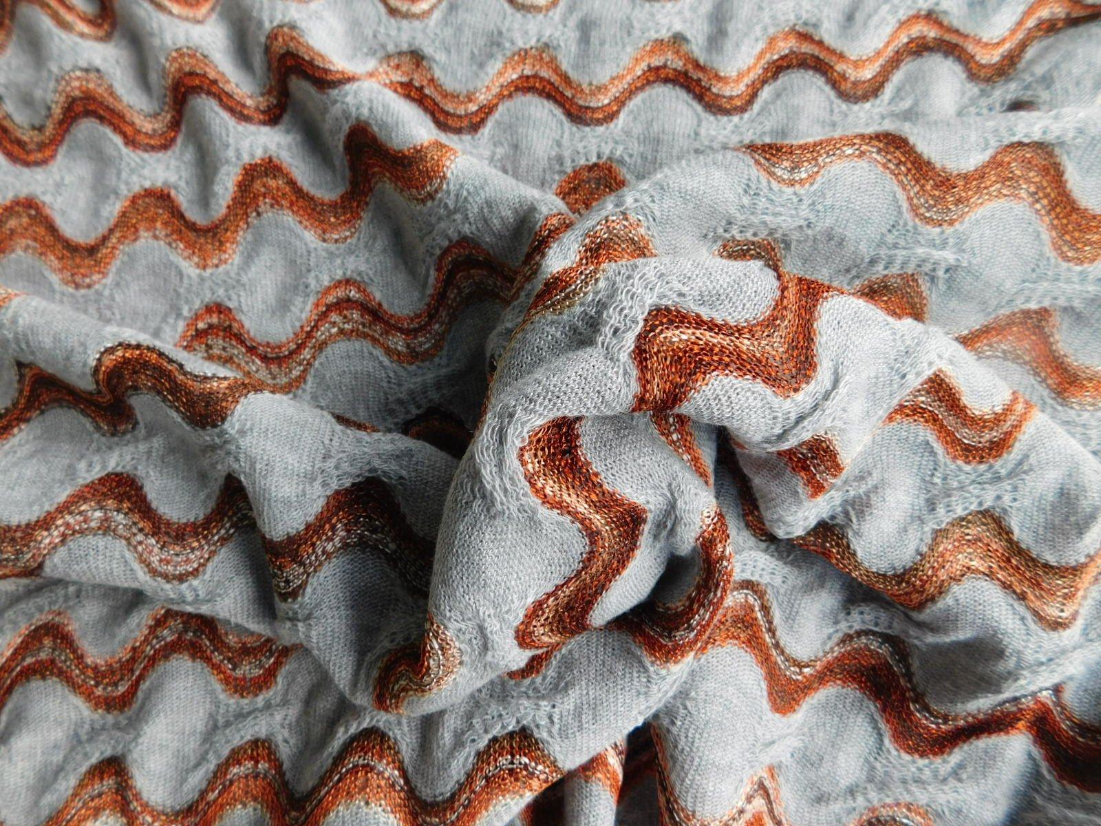 Gray and Copper Chevron Knit