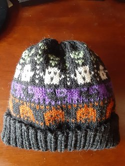 READY TO WEAR! Halloween Hat in GREY, Pumpkin, Cat, Ghost, Skull1 size: Lg. Child @18 -to Med. Adult @ 22