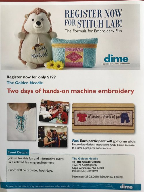 Stitch Lab a Designs in Machine Embroidery by Dime Event, held at