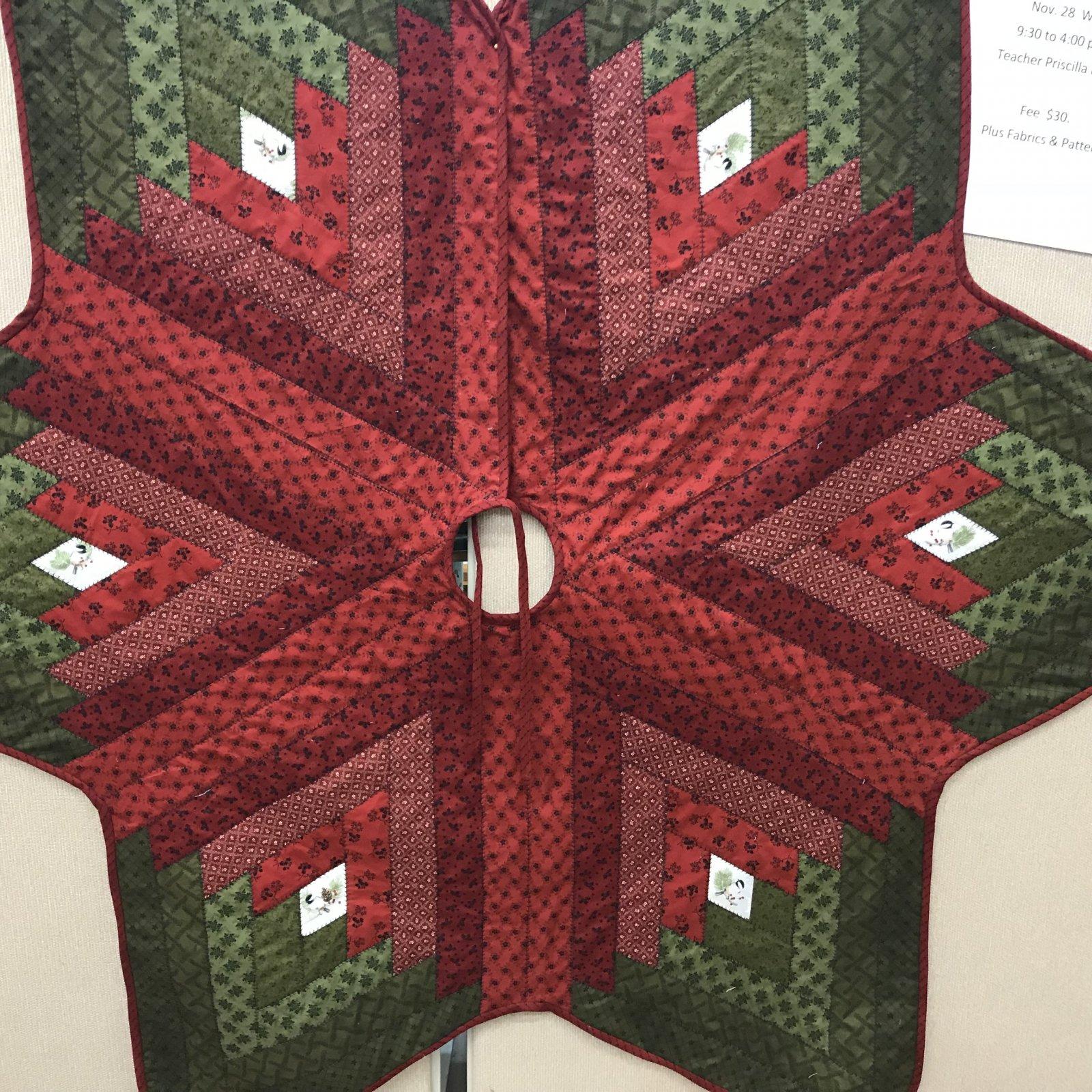 Log Cabin Christmas Tree Quilt.Christmas Tree Skirt Pieced Diamond 30 Class Fee