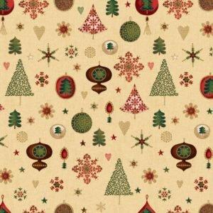 3 Yd Bundle Christmas Ornaments Red & Gr Stars