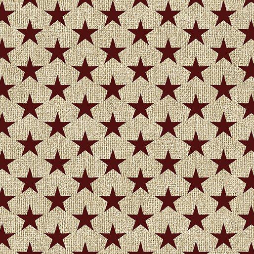 967 19 Med Stars Linen/Drk Red