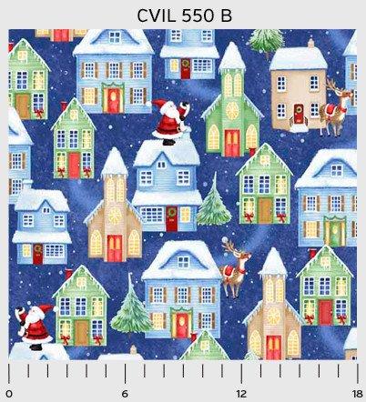 3 Yd Bundle Christmas Village Blue