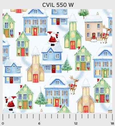 3 Yd Bundle Christmas Village White Houses