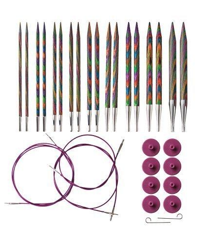 Options Interchangeable Rainbow Wood Needle Set