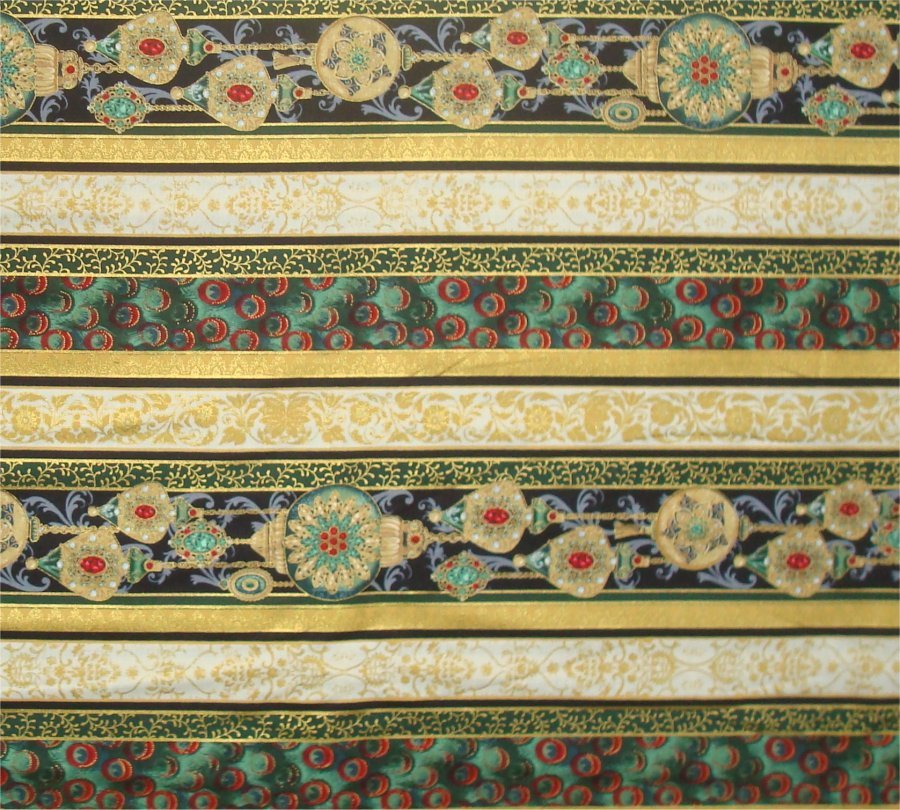 PEACOCK ORNAMENTS BORDER STRIPE BY HOFFMAN - GREEN-GOLD