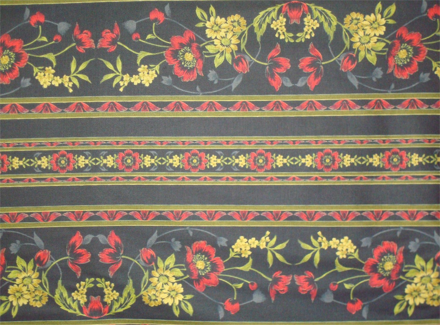 MIDNIGHT GARDEN - RED- BY JINNY BEYER AND RJR FABRICS