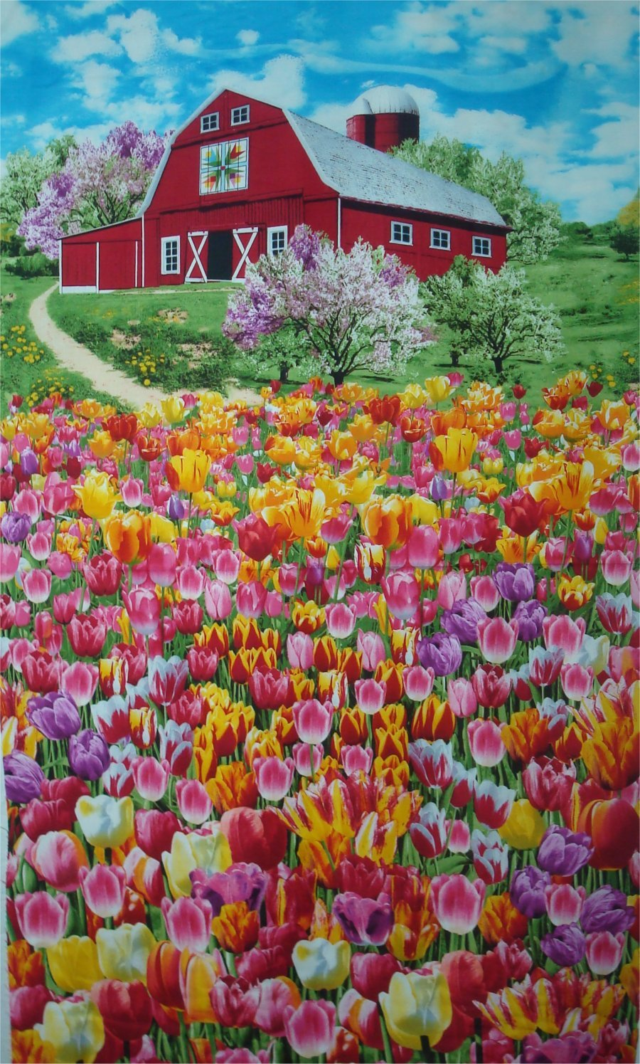 BARN WITH TULIPS