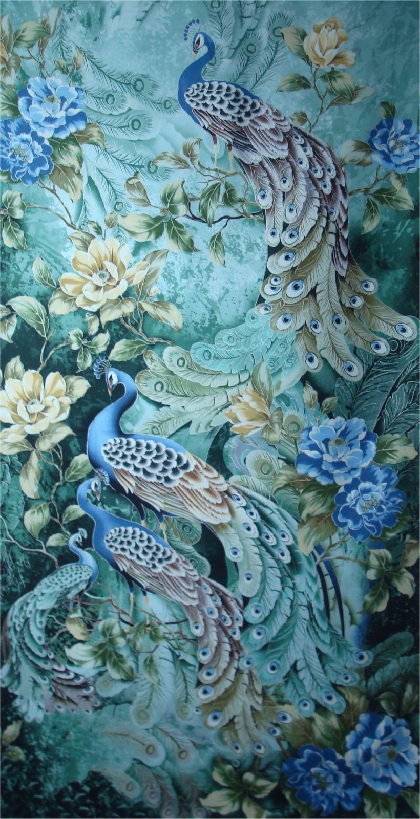 PLUME PEACOCK PANEL - SAGE- BY TIMELESS TREASURES