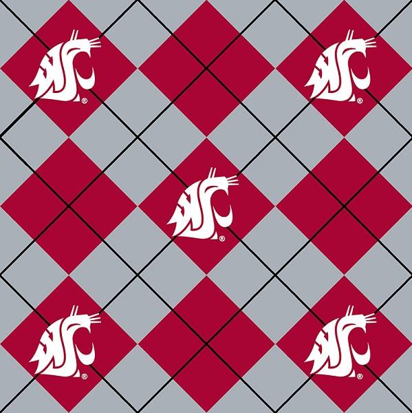 Washington State University Argyle Fleece Print Red/Grey