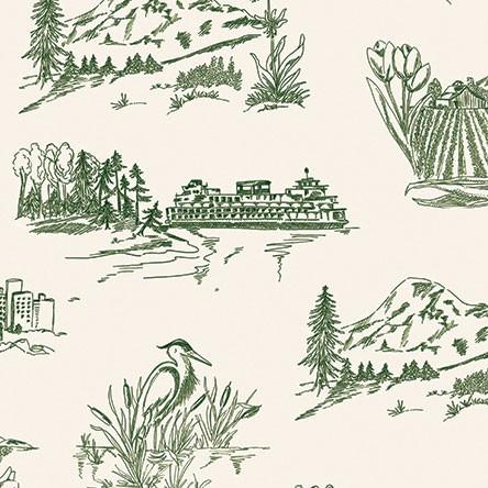 Washington State Toile Green