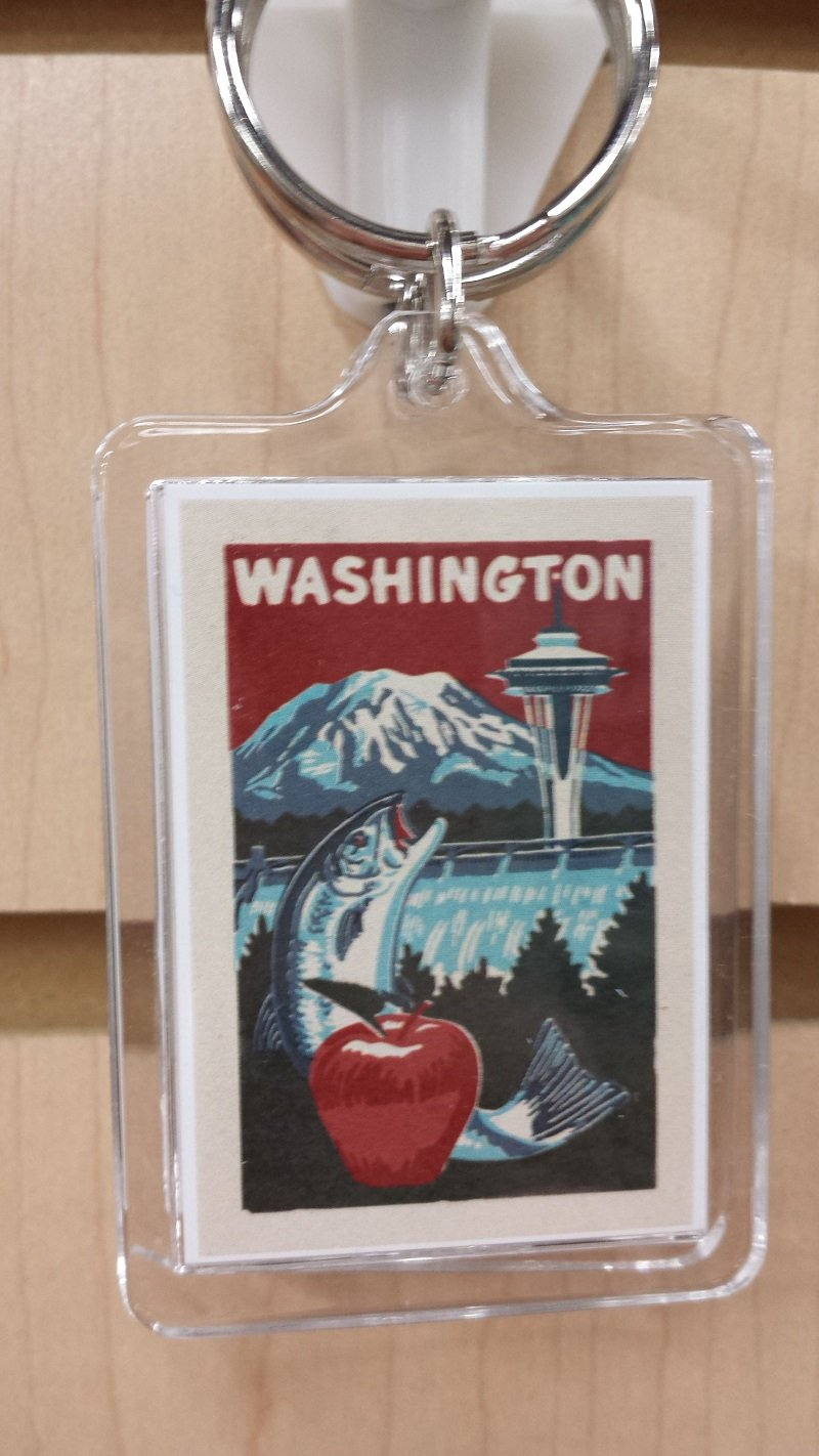 Washington Woodblock Keychain