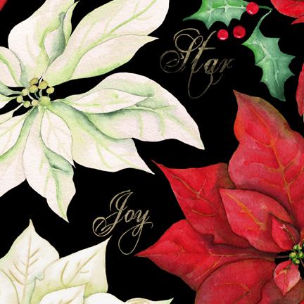 Christmas Joy Large Floral Black