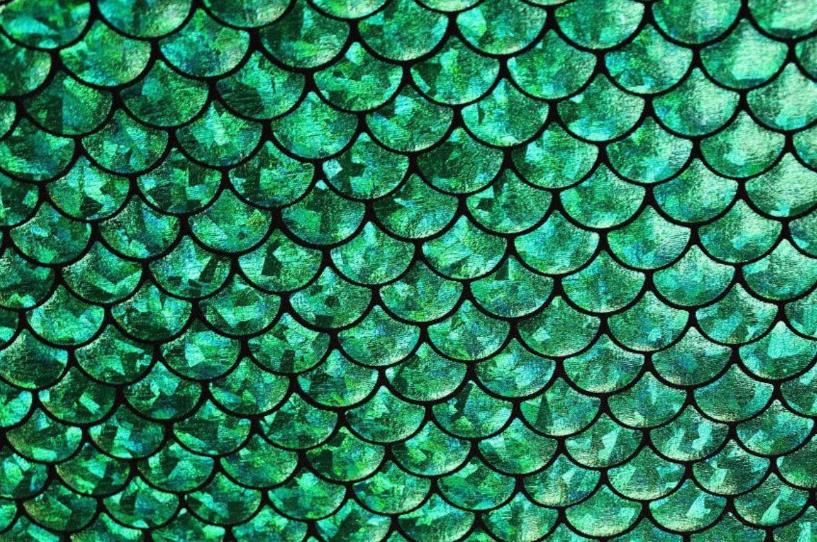Spandex House - Medium Mermaid Scales - Green Black / Hologram