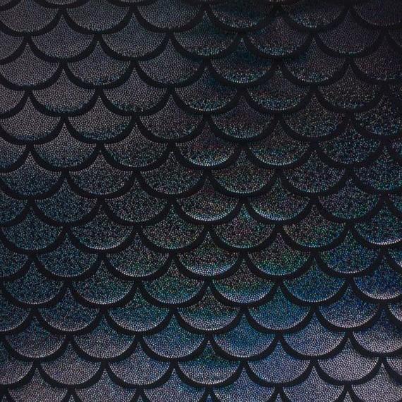 Spandex House - Big Mermaid Scales - Black / Hologram