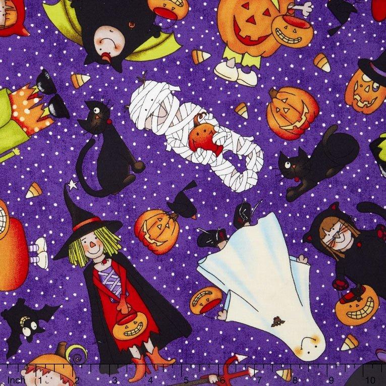 Northcott - Happy Halloween - Treaters (purple)