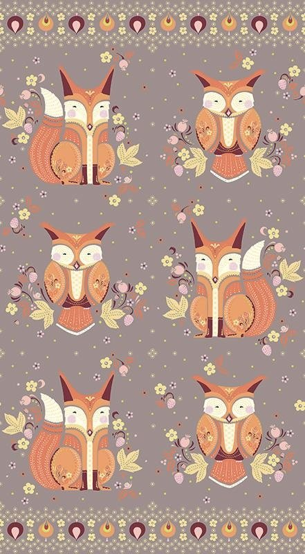 Andover -  Forest Fable - Fox Panel (taupe)