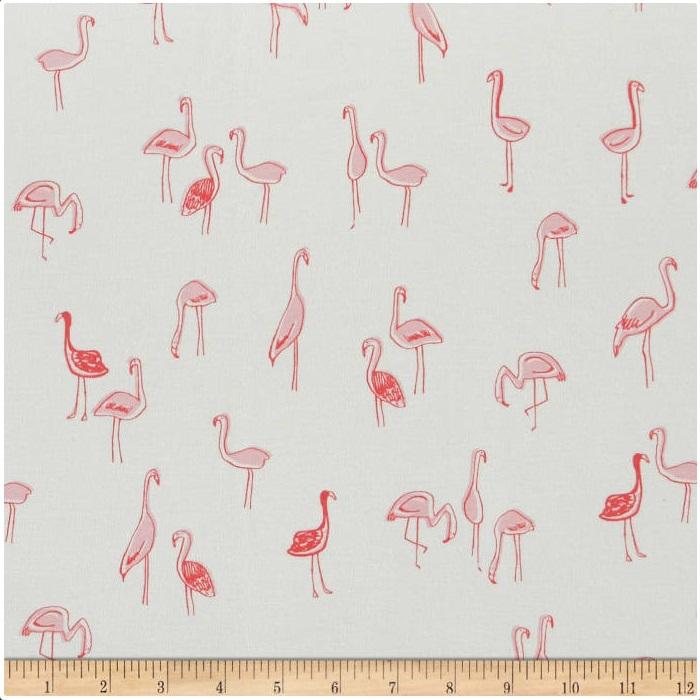 Dear Stella - Jersey Knit - Flamingos (Bay Mint)