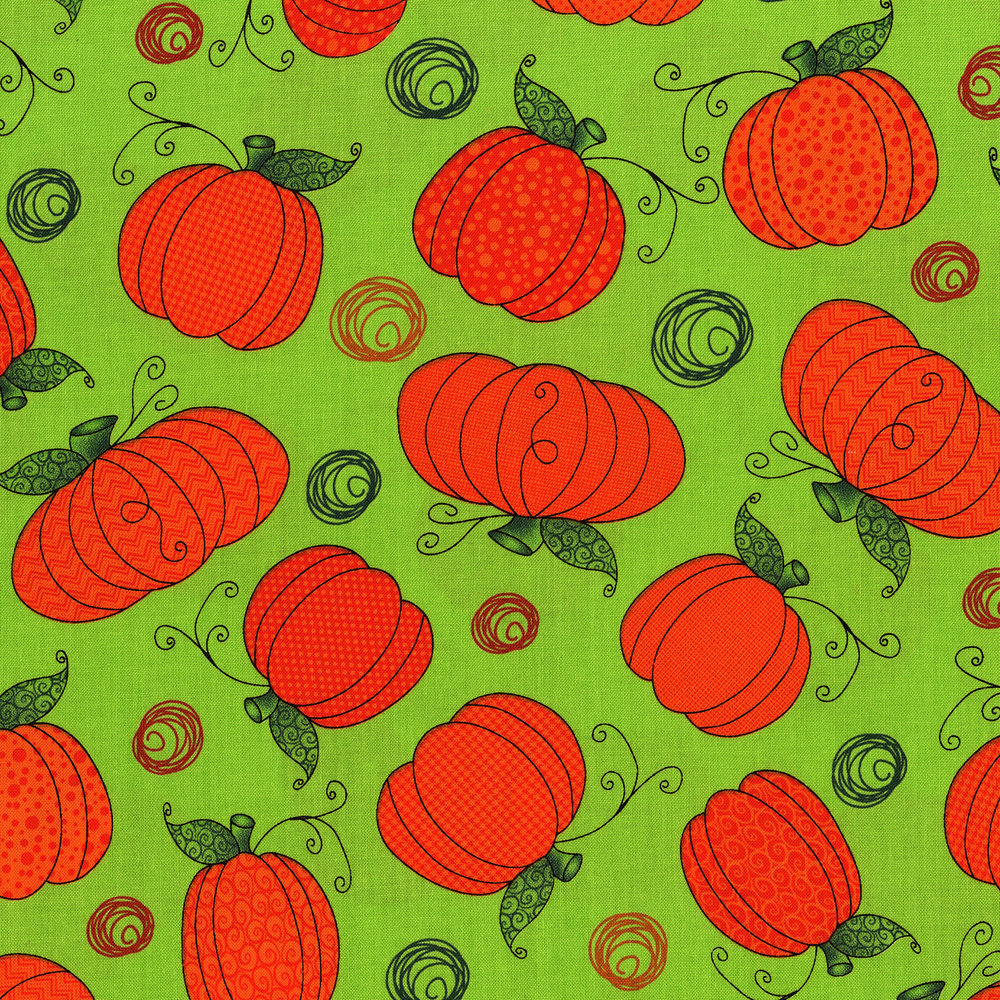RJR Fabrics - Happy Owl-o-ween - Pumpkin Patch (Ghoulish Green)