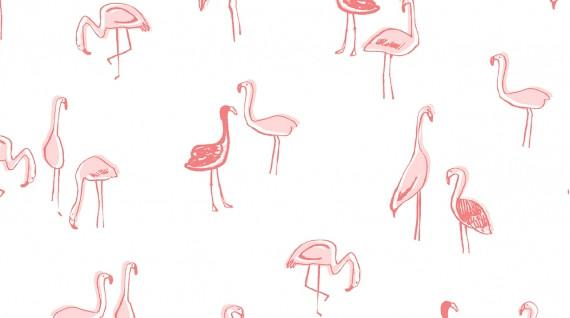Dear Stella - Jersey Knit - Flamingos (White)
