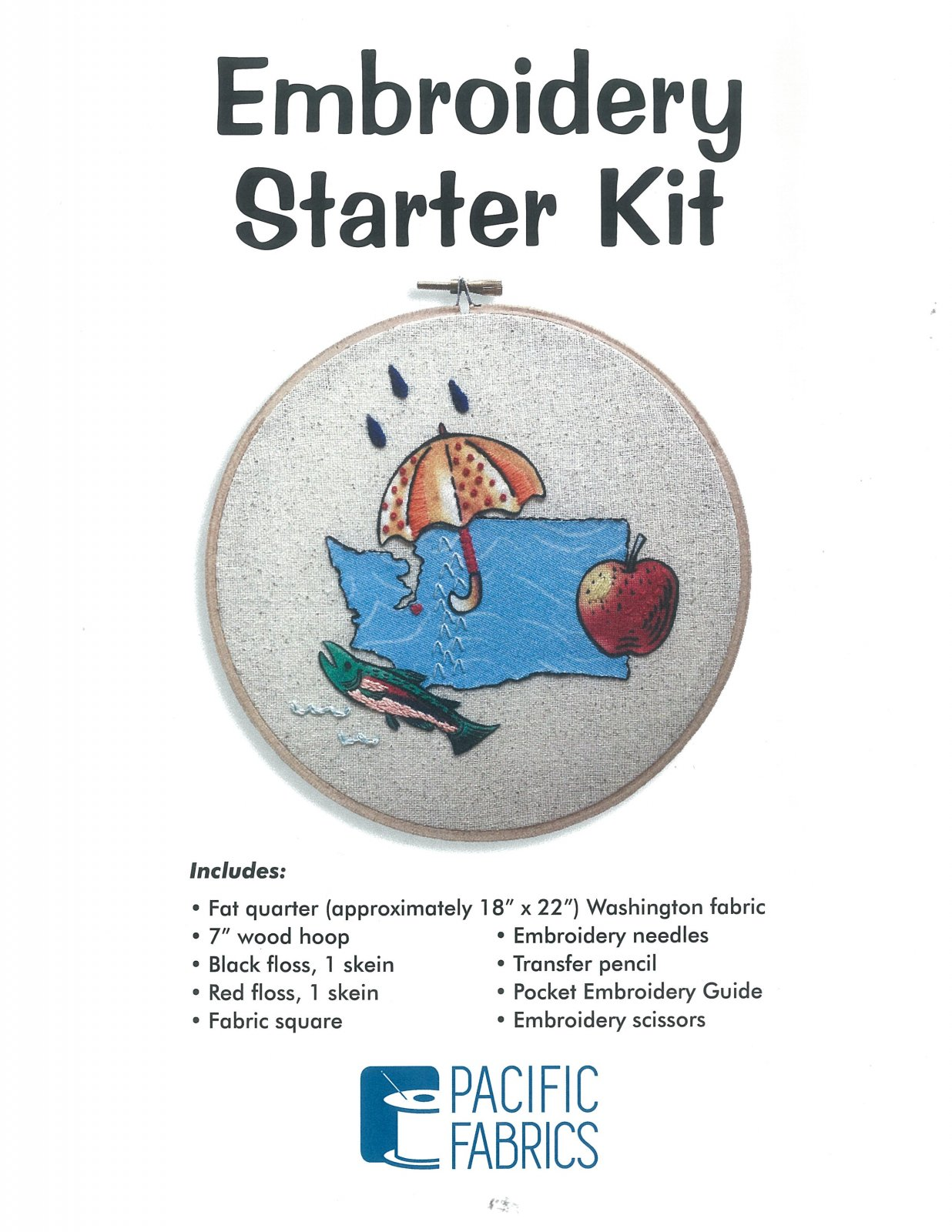 Kit - Pacific Fabrics - Embroidery Starter Kit (Washington)