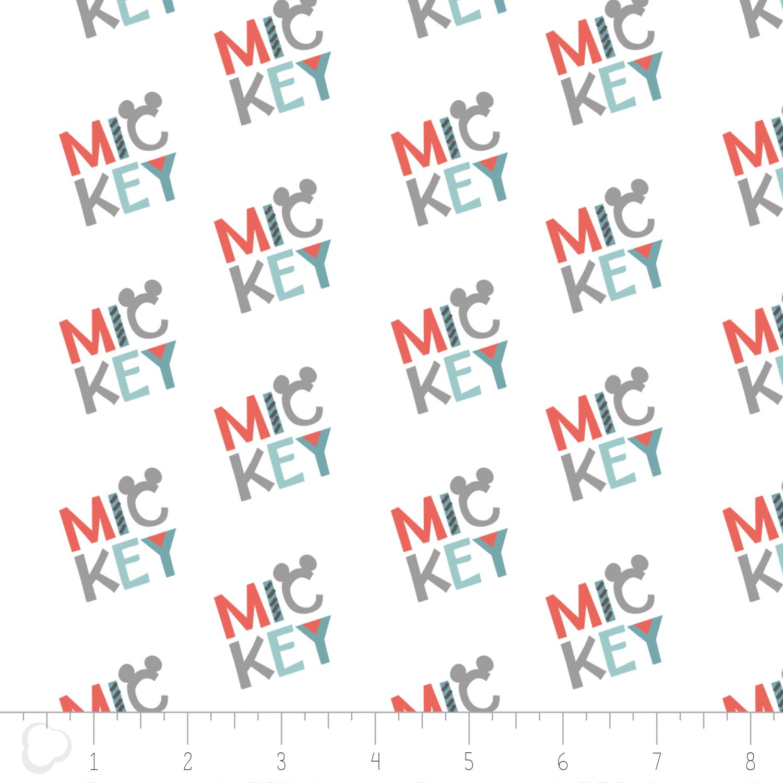 Camelot Fabrics - Mickey Logo (White)