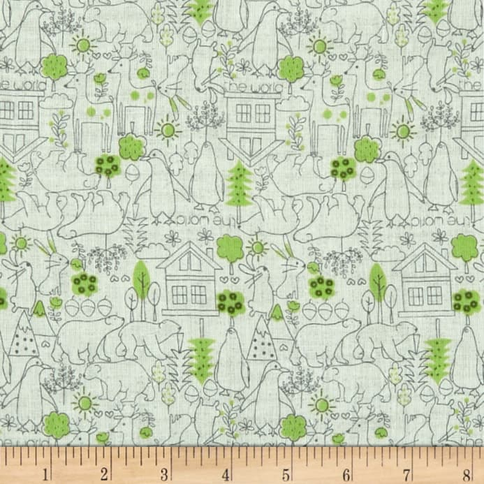 Kokka - Tiny Little Kids - Little Bear Double Gauze (Green)