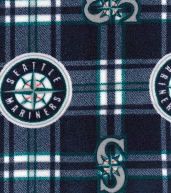 Seattle Mariners Fleece Fabric 58-Plaid