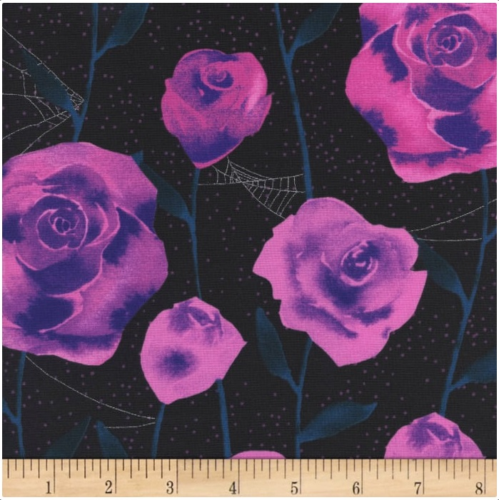 Cotton + Steel - Eclipse - Roses (black metallic)