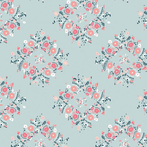 Art Gallery Fabrics - Blithe - Joy Wreaths Ice