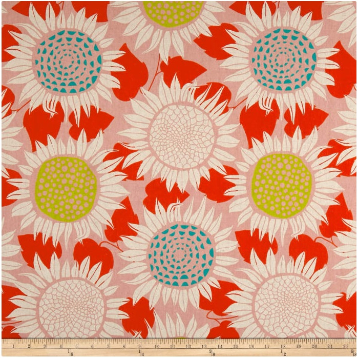 Cotton + Steel - Front Yard - Canvas Sunflowers (Pink)