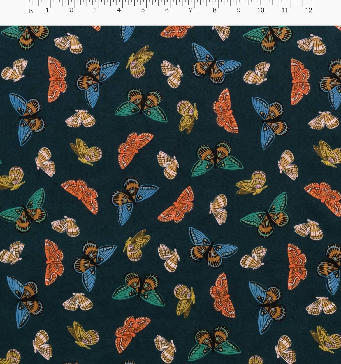 Cotton + Steel - English Garden - Cotton Lawn - Monarch (Navy)