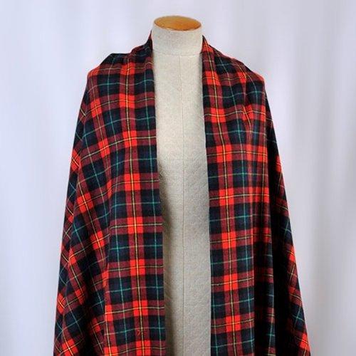 Michael Levine - Plaid Flannel Shirting - Red / Navy Blue / Multi