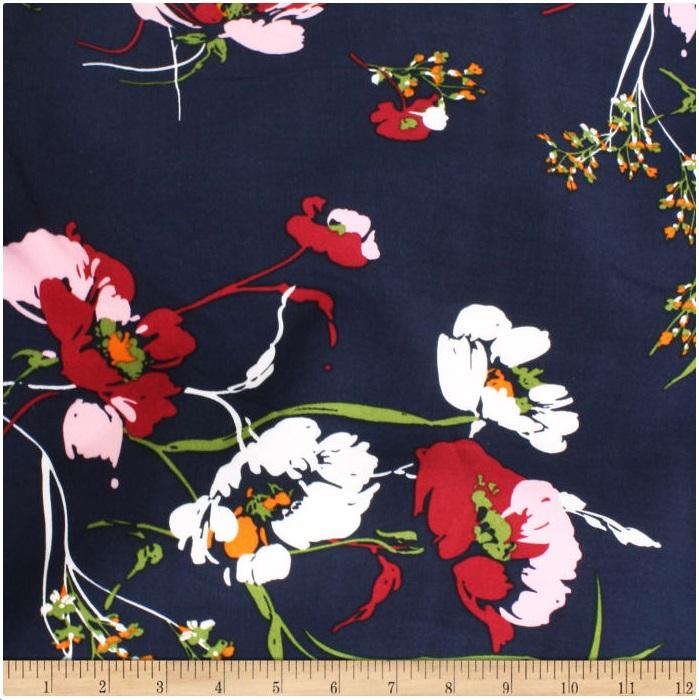 Telio - Picasso Rayon Poplin - Floral (NavY)