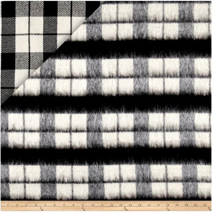 Telio - Kaori Plaid Stripe Brushed Coating - Black/White